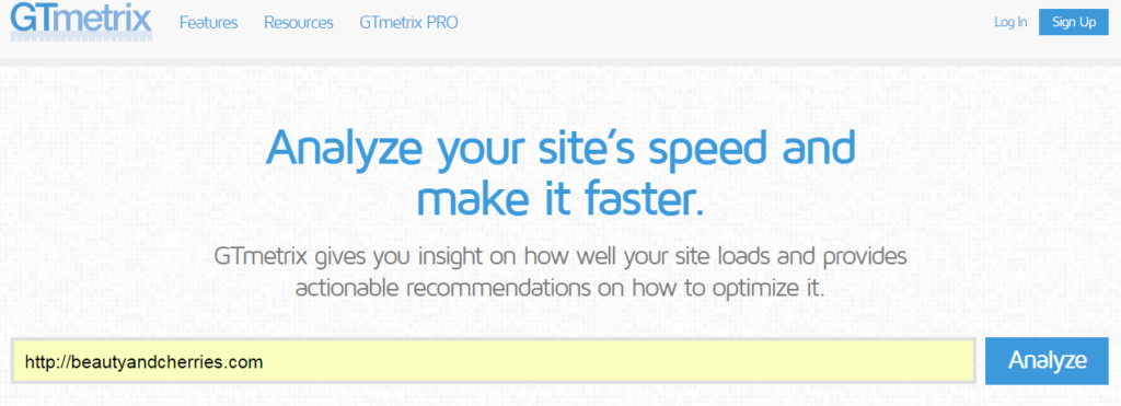 GTMetrix site load test Image Optimization