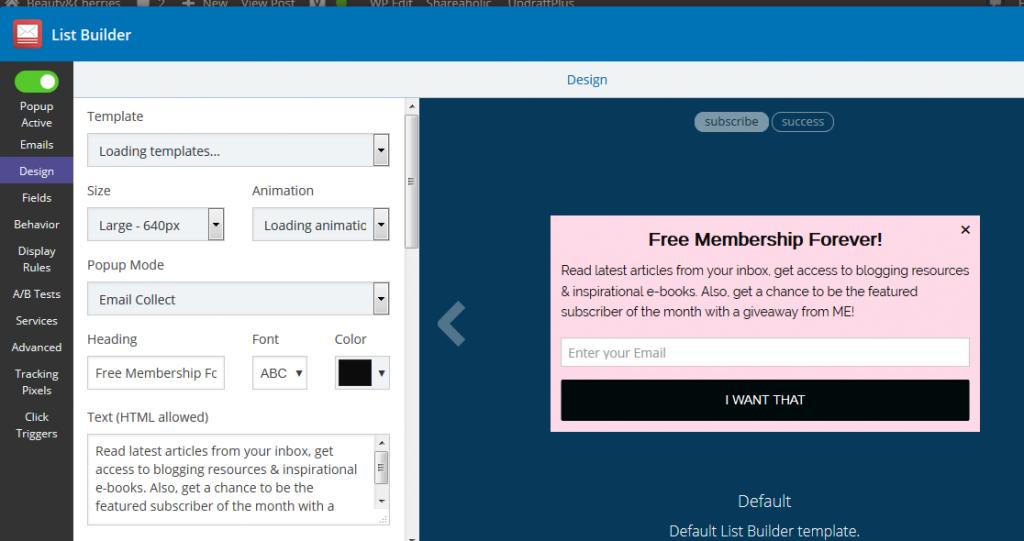 sumo me list builder wordpress plugin