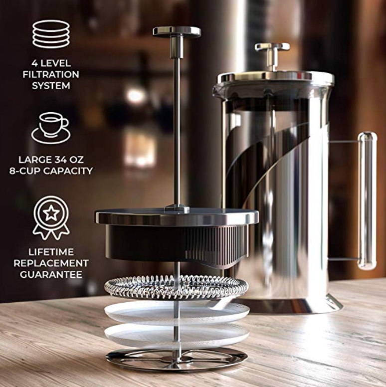 French Press Coffee Maker (34 Ounce) with 4 Level Filtration System